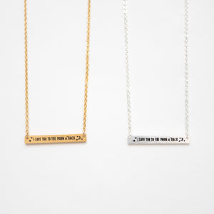 Beck & Boosh Love You To The Moon And Back Short Rectangle Pendant Necklace with Inscription Silver or Gold Stainless Steel