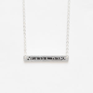 Beck & Boosh Love You To The Moon And Back Short Rectangle Pendant Necklace with Inscription Silver Stainless Steel