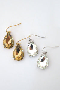 beck & boosh Beck and boosh vintage retro lucielle ball inspired earrings old hollywood glamour fashion jewelry with teardrop shaped sparkle cut crystal  in gold and silver