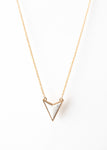 Beck & Boosh Marble Volt Necklace White Marble V Shaped Pendant Short Necklace Plated Gold Chain