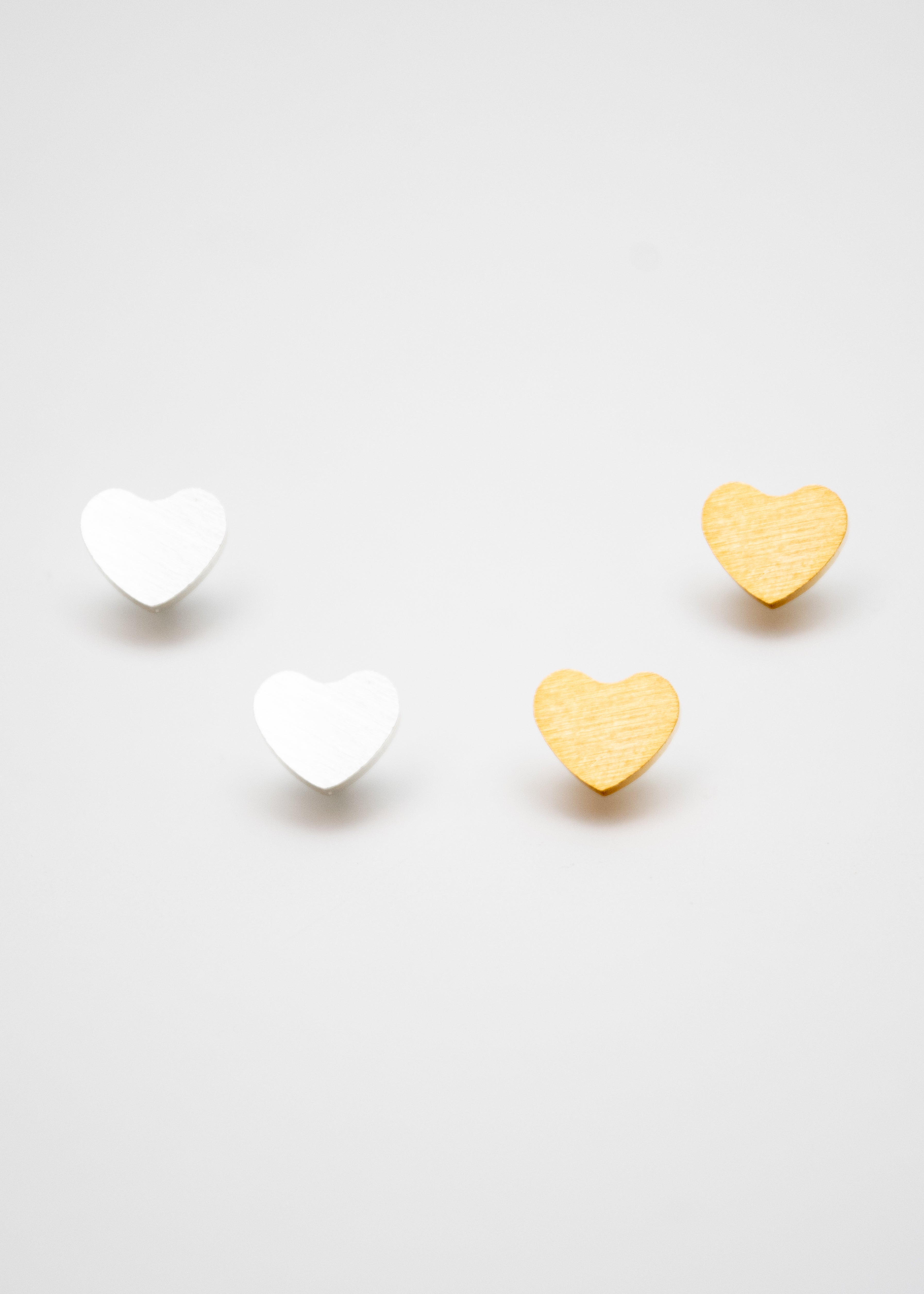 Beck & Boosh Amour Studs Silver and Gold Hearts Stainless Steel