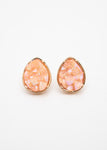 Beck & Boosh Mineral Drop Studs Teardrop Gold Frame with Iridescent Peach Rough Stone Center