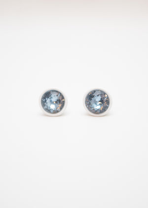 Beck & Boosh Modern Gem Studs White Circle Fame with Blue Rhinestone Center