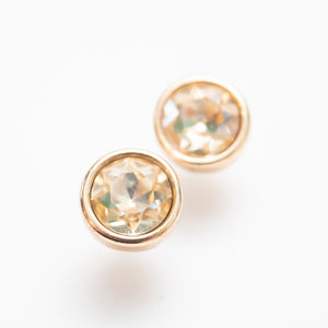 Beck & Boosh Modern Gem Studs Gold Circle Fame with Champagne Rhinestone Center