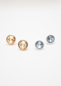 Beck & Boosh Modern Gem Studs Circle Fame with Colored Rhinestone Center In White and Blue or Gold and Champagne