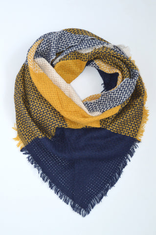 YELLOW & NAVY HALF BLANKET SCARF