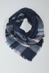 Beck & Boosh Half Navy & Pink Blanket Scarf Half Size Blanket Scarf with Navy, Baby Blue, and Pink Plaid Pattern Imitation Cashmere 100% Acrylic