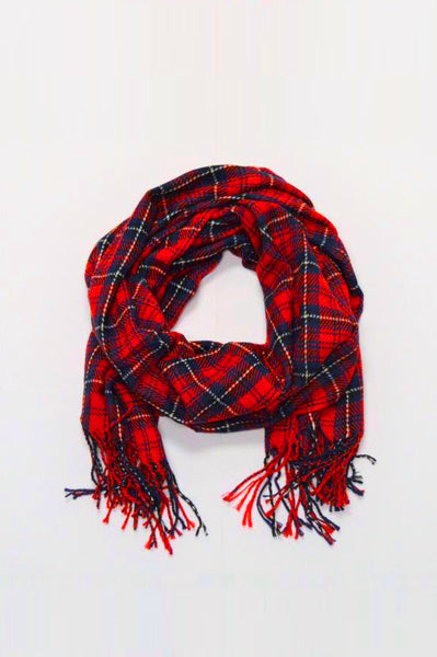 beck & boosh accessories full and half sized blanket scarf in a red plaid