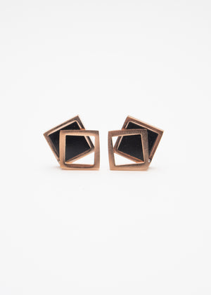 Beck & Boosh Off the Frame Studs Gloss Black Square with Hollow Square Frame Slightly Off Center In Rosegold Stainless Steel