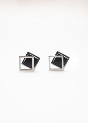 Beck & Boosh Off the Frame Studs Gloss Black Square with Hollow Square Frame Slightly Off Center In Silver Stainless Steel