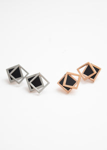 Beck & Boosh Off the Frame Studs Gloss Black Square with Hollow Square Frame Slightly Off Center In Rosegold or Silver Stainless Steel
