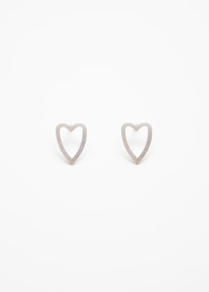 Beck & Boosh Open Heart Studs Bushed Metal Open Hearts in Silver Stainless Steel