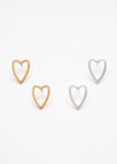 Beck & Boosh Open Heart Studs Bushed Metal Open Hearts in Gold or Silver Stainless Steel