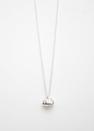 Beck & Boosh Oyster & Pearl Short Necklace Double Shell with Inside Pearl Plated in Silver