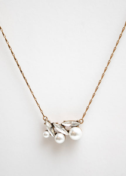 PEARL & RHINESTONE BURST NECKLACE