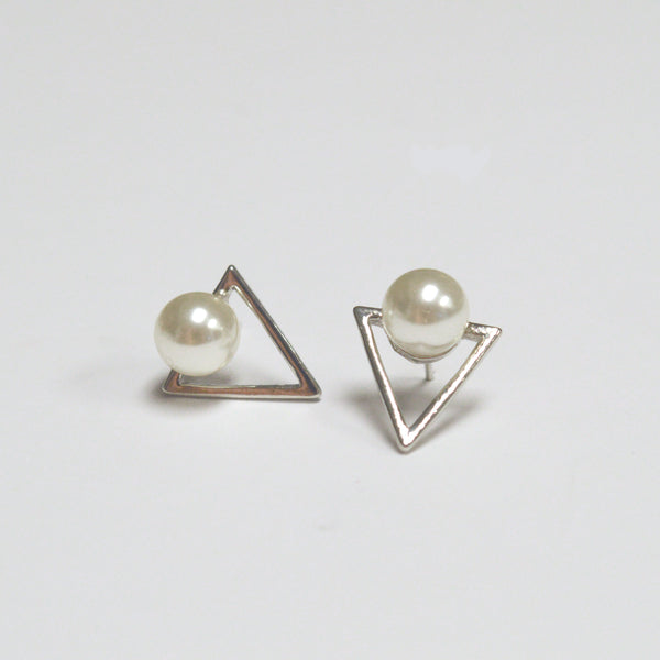 beck & boosh fashion jewelry triangle studs in gold and silver with a small pearl accent on the top of the stud clean and minimal design