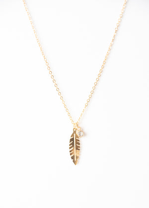 Beck & Boosh Plume & Rhinestone Short Necklace Delicate Feather Pendant with Accompanying Rhinestone Pendant Plated Gold Stainless Steel