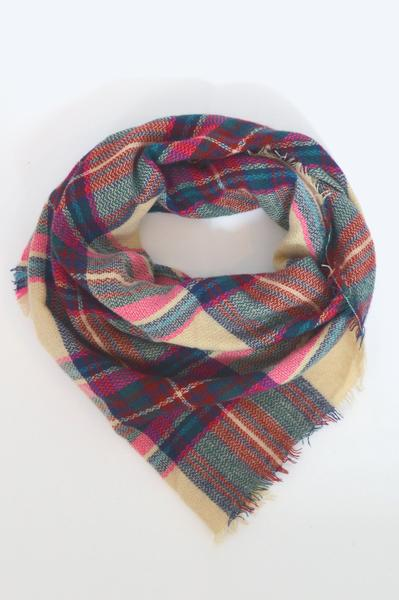 beck & boosh accessories full and half sized blanket scarf with a pink and beige plaid light colors with rich accents of green and black