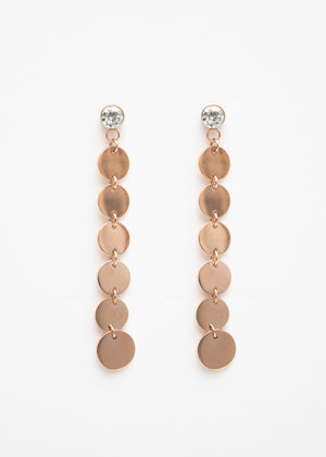 Beck & Boosh Rhinestone Scales Earrings Rhinestones attached to cascading circles in rose gold stainless steel