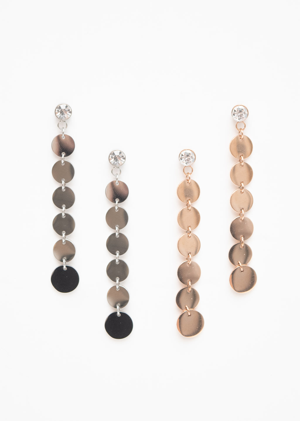 Beck & Boosh Rhinestone Scales Earrings Rhinestones attached to cascading circles in silver and rose gold stainless steel