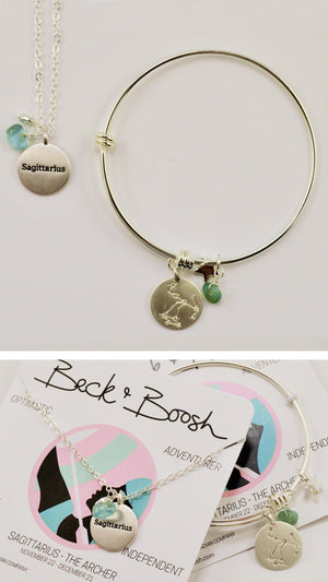 beck & boosh horoscope collection fashion jewelry sagittarius bracelet sagittarius necklace zodiac jewelry with charms and raw gems