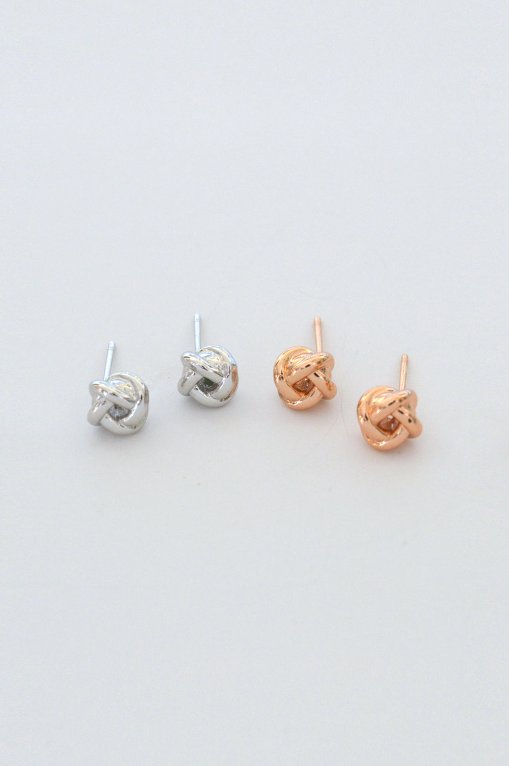 Beck & Boosh small sailor knot studs in rose gold and silver simple classic and nautical stud design