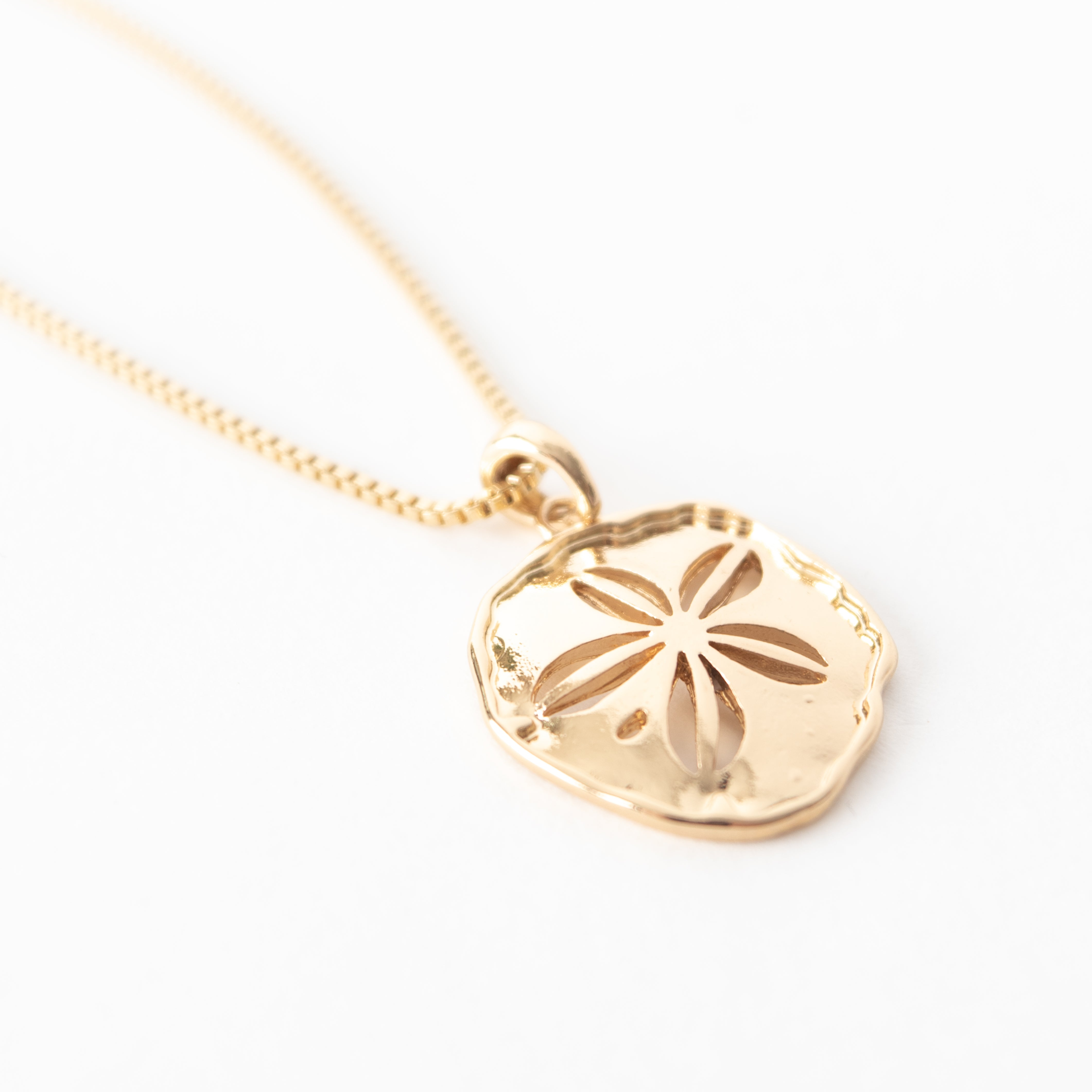 Beck & Boosh Sand Dollar Long Necklace Plated Gold Sand Dollar Pendant Hanging From Long Gold Plated Chain