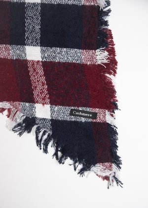 RECTANGLE FULL SCARF WITH ANGLED ENDS BURGUNDY & NAVY