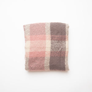 RECTANGLE FULL SCARF WITH ANGLED ENDS PINK & GREY
