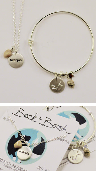 beck & boosh horoscope collection fashion jewelry scorpio bracelet scorpio necklace zodiac jewelry with charms and raw gems