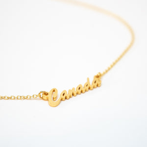 Beck & Boosh Canada Script Necklace Gold Plated