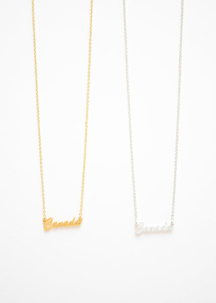 Beck & Boosh Canada Script Necklace Gold and Silver Plated