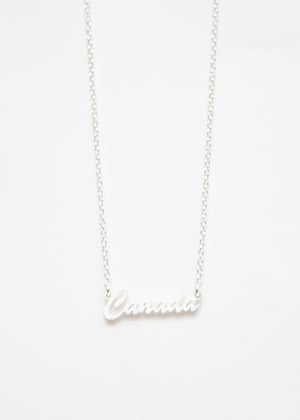 Beck & Boosh Canada Script Necklace Silver Plated