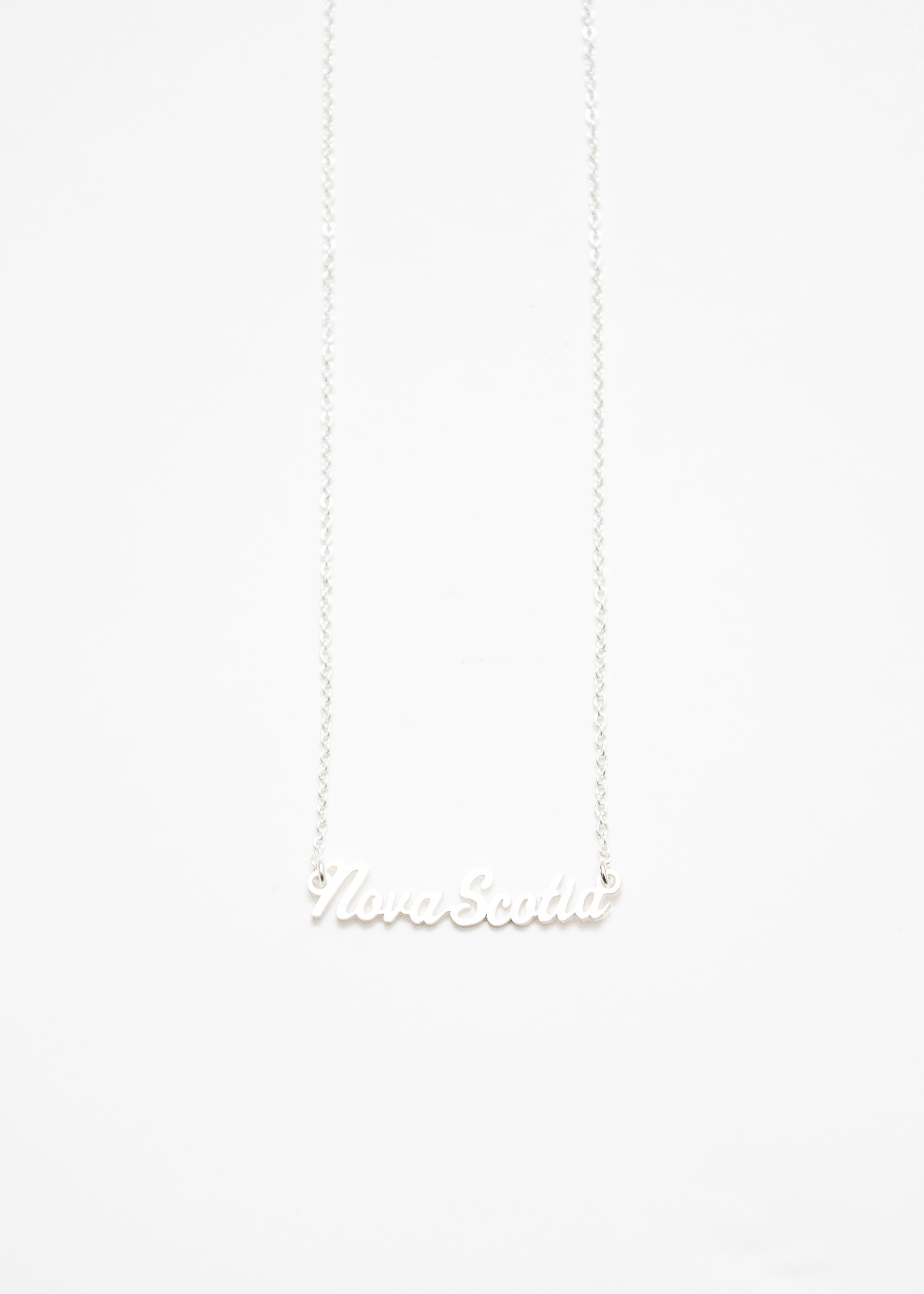 Beck & Boosh Nova Scotia Script Short Necklace Scrolled Nova Scotia Script Plated Silver