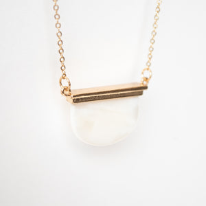 Beck & Boosh Sea Shore Moon Necklace Short Necklace with Half Circle Opal Pendant Hung from a Gold Bar on Plated Gold Chain