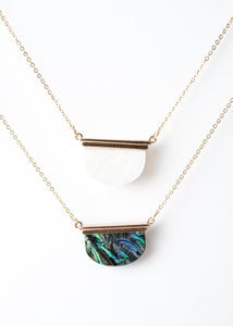 Beck & Boosh Sea Shore Moon Necklace Short Necklace with Half Circle Abalone or Opal Pendant Hung from a Gold Bar on Plated Gold Chain