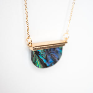 Beck & Boosh Sea Shore Moon Necklace Short Necklace with Half Circle Abalone  Pendant Hung from a Gold Bar on Plated Gold Chain