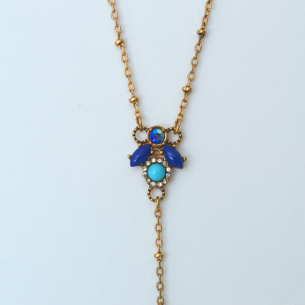 beck and boosh beck & boosh vintage necklace lauren bacall inspired hollywood glam gold necklace with blue charms long and dramatic fashion jewelry
