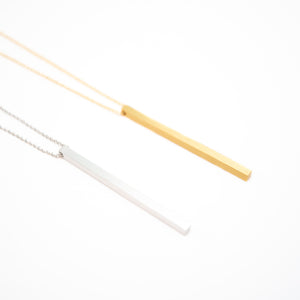 Beck & Boosh Clara Bar Long Necklace Rectangle Bar Pendant Silver and Gold Plated