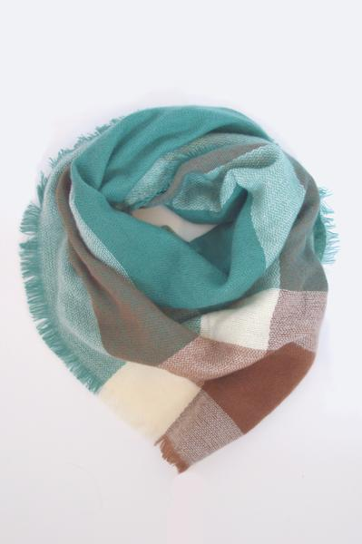 beck & boosh accessories full and half sized blanket scarf with large block plaid teal brown and white