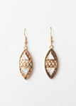 Beck & Boosh Tribal Dangles Plated Gold Oval Pendants with White Marble Triangle Inserts and Crisscross Cut Out in-between