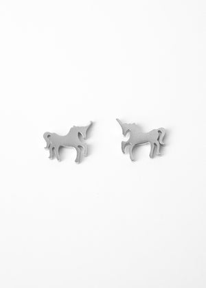 Beck & Boosh Unicorn Studs Small Unicorns Plated Silver Stainless Steel