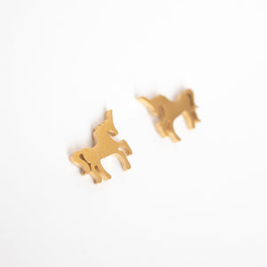 Beck & Boosh Unicorn Studs Small Unicorns Plated Gold Stainless Steel