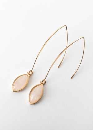 Beck & Boosh Eliza Earrings Long V Hook with Oval Blush Pink Stone Pendant Gold Plated
