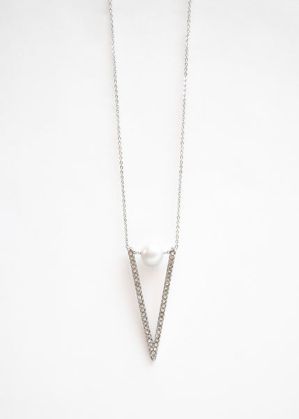 Beck & Boosh Velocity rhinestone triangle and pearl long necklace plated in silver