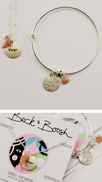 beck & boosh horoscope collection fashion jewelry virgo bracelet virgo necklace zodiac jewelry with charms and raw gems