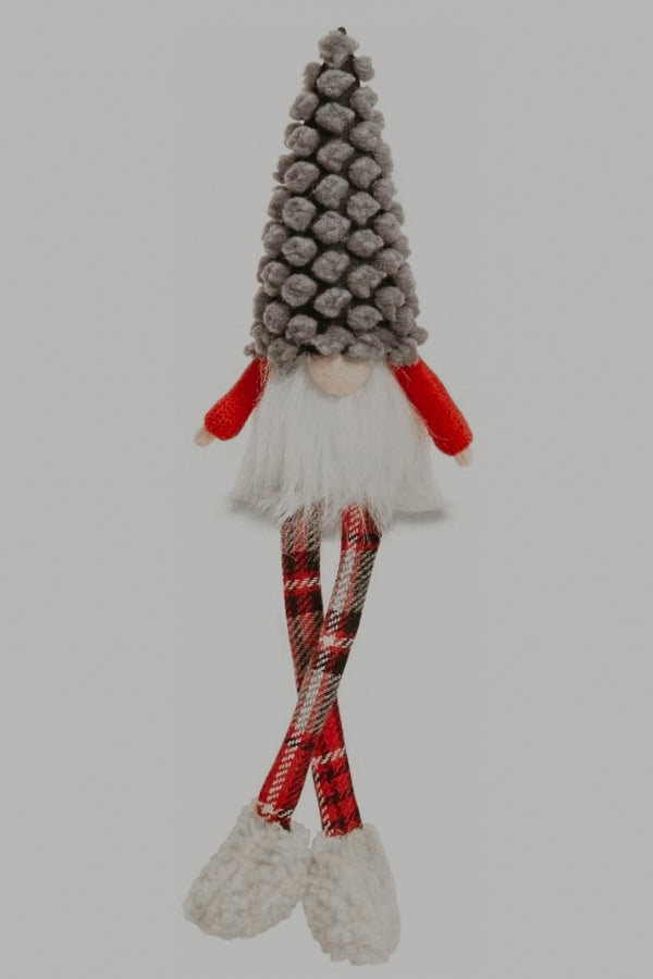 Gray Puff Dot Dangle Leg Gnome