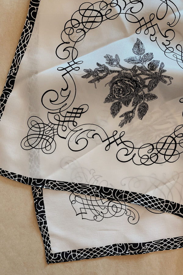 Silk Bandana - Line Drawing