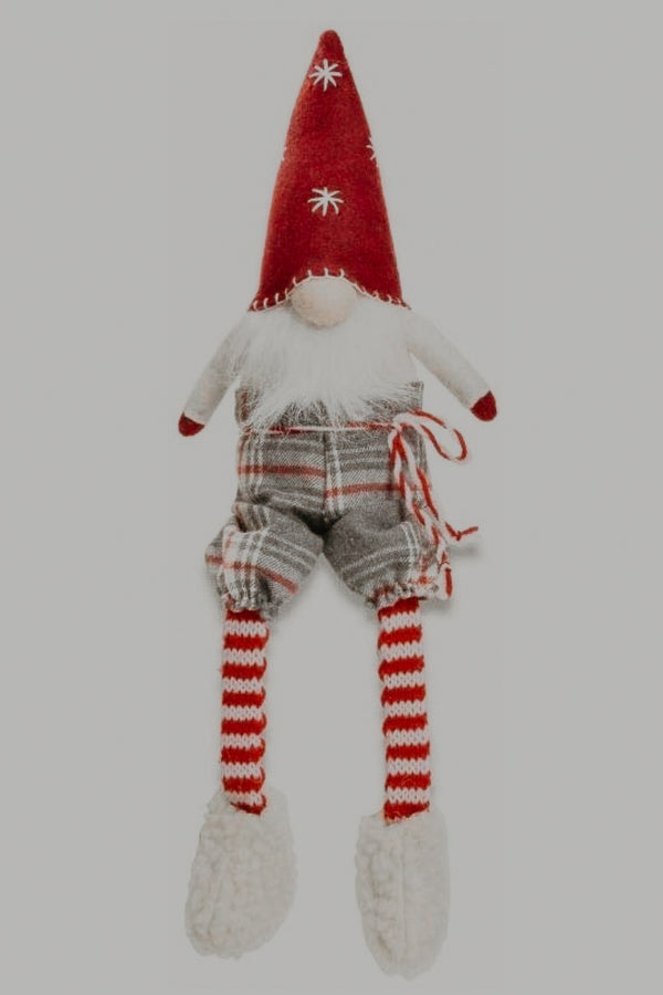 Red + Plaid Dangle Leg Gnome