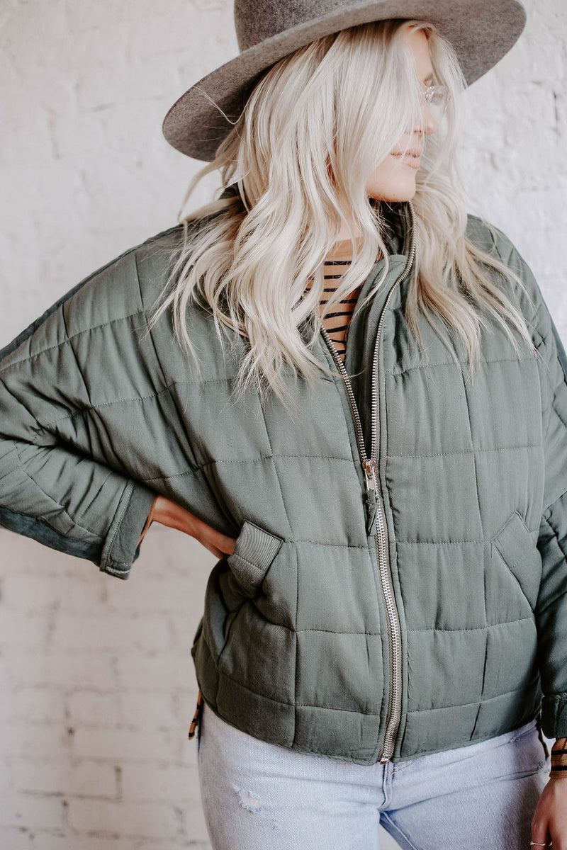 Dolman Quilted Knit Jacket (O+P) - Free People Dupe